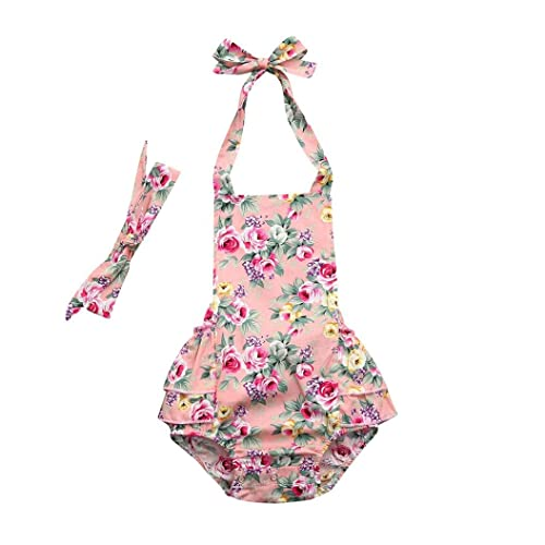 e424c873d17 Toddler Infant Baby Girl Backless Outfit Halter One Piece Romper Kids  Ruffle Sleeveless Floral Printed Jumpsuit