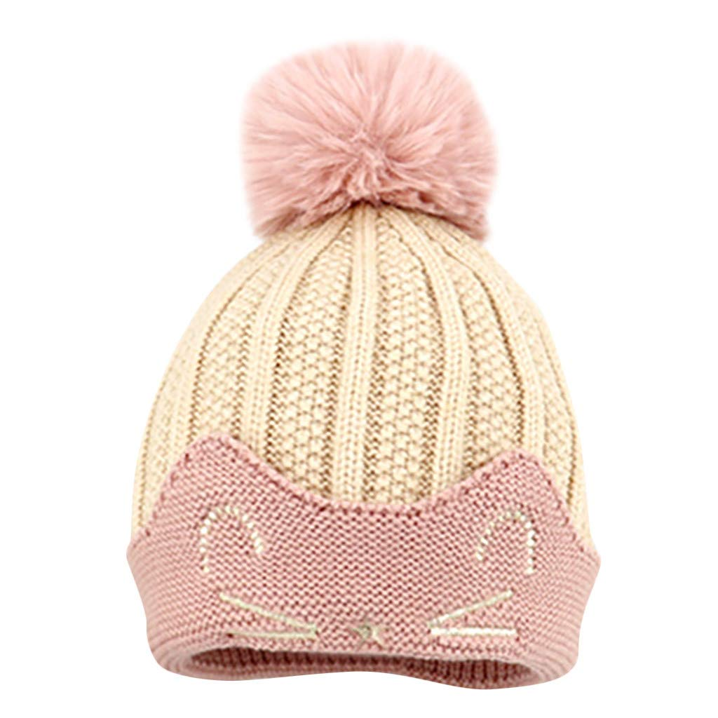 Kids Unisex Winter Rib Knitted Wool Warm Hat with Pompom Ball 6Months-3Years Old Sixcup/_ Childrens Baby Boys Girls Winter Hat Cartoon Cat Hair Ball Thickening Hat
