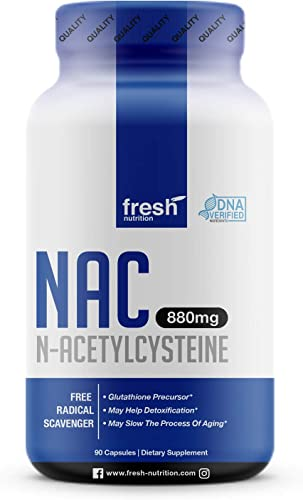 NAC Supplement – N Acetyl Cysteine – Strongest DNA Verified – Nacetyl Cysteine Amino Acids Anti Aging, Glutathione, Oxidative Stress, Detox, Free Radicals – Pure NAC Powder in 90 capsules – Vegan Safe