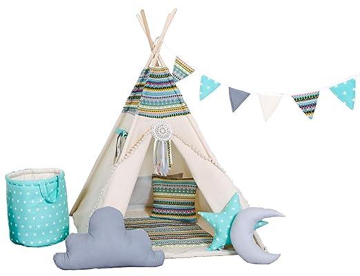 Golden Kids Kinder Spielzelt Teepee Tipi Set für Kinder drinnen draußen  Spielzeug Zelt Indianer Indianertipi Tipi mit & ohne Zubehör