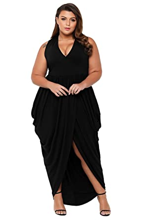 814094f16a907 Womens White/Black Beach Cover up Maxi Length Plus Size Dress Deep V-Neck  Tank Dresses at Amazon Women's Clothing store: