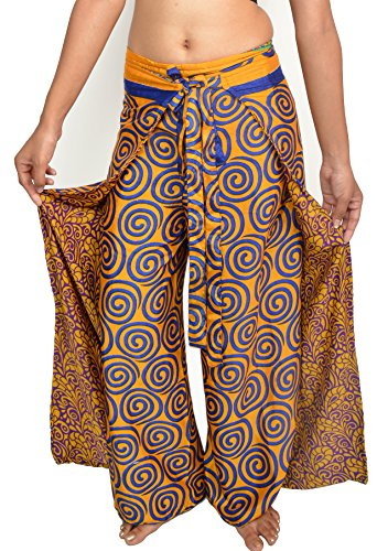 Wevez Women's Pack of 5 Thai Fisherman Pants, One Size, - Women Wrap Sari