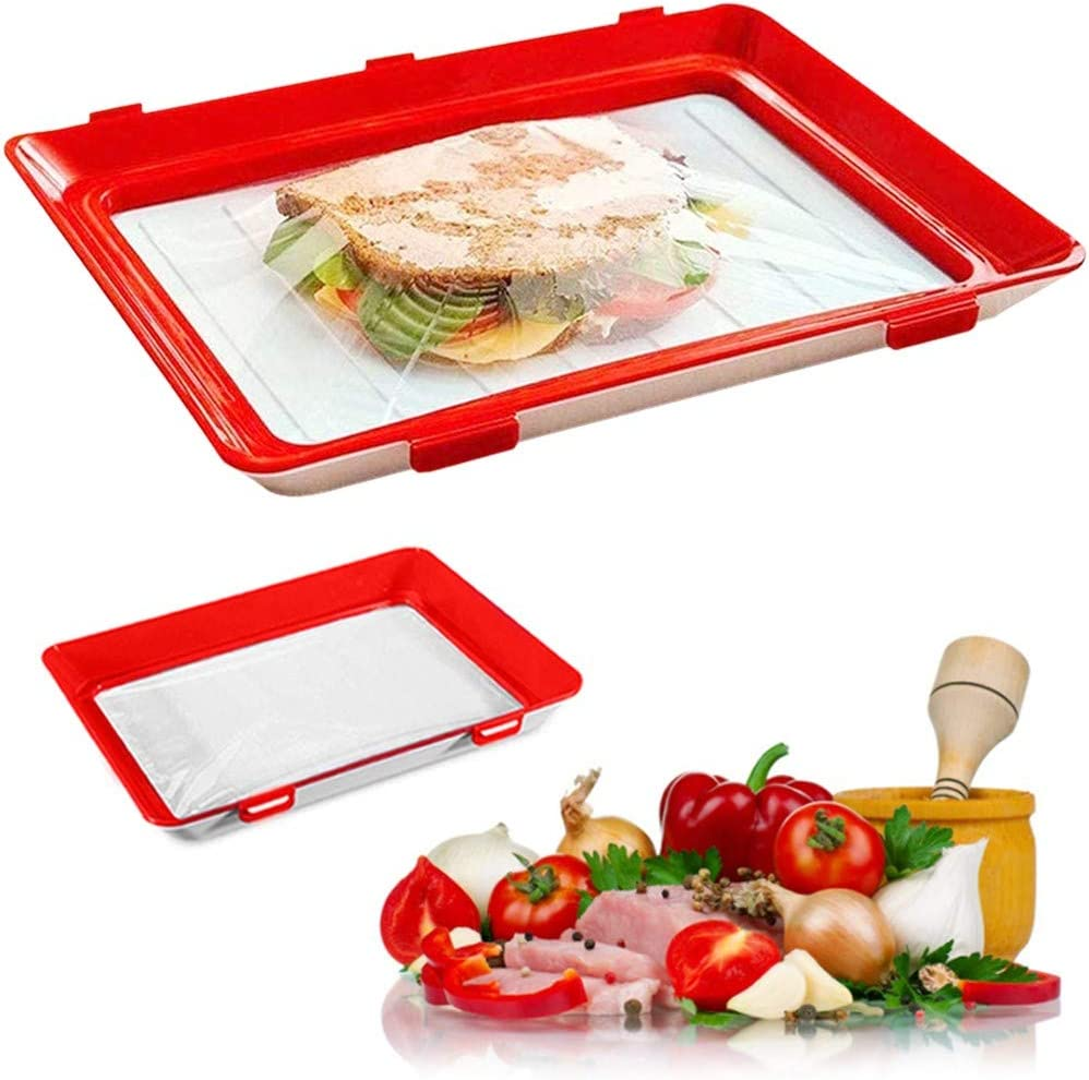 Food Plastic Preservation Tray, Healthy Creative Tray Kitchen Tools, for Healthy Seal Storage Container for Keep Food Fresh (2 Pack)