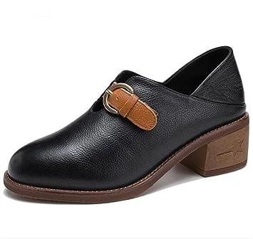 De Cinturón Zapatos Del Oxford Block Piel Genuina Heel Mujer Hebilla dTT4SH 331af69a79a