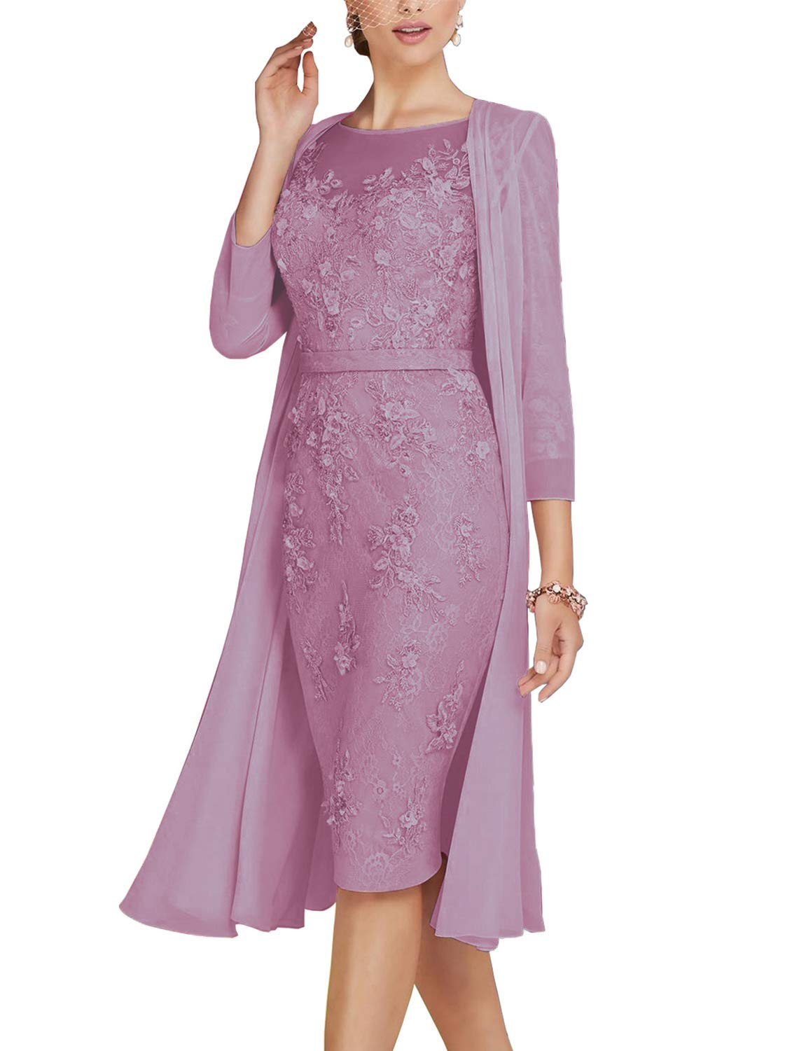 Light Pink Lace Mother of The Brides Groom Dress Tea Length with Chiffon Jacket