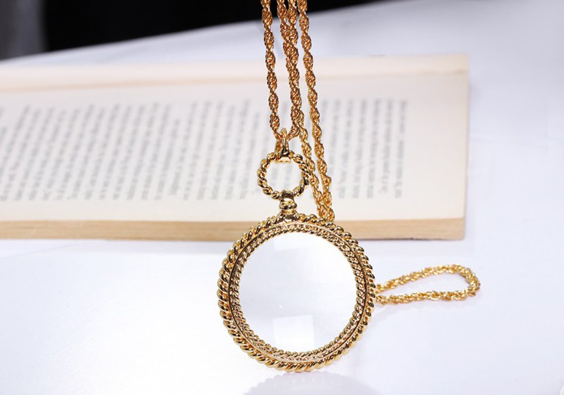 Mini Portable 2X Magnifer 65mm with Alloy Sweater Chain Long Necklace Hanging Magnifying Glass for Reading Newspaper,Magazine,Map,Science Class,Hobby,Jewelry,Inspects,Low Vision