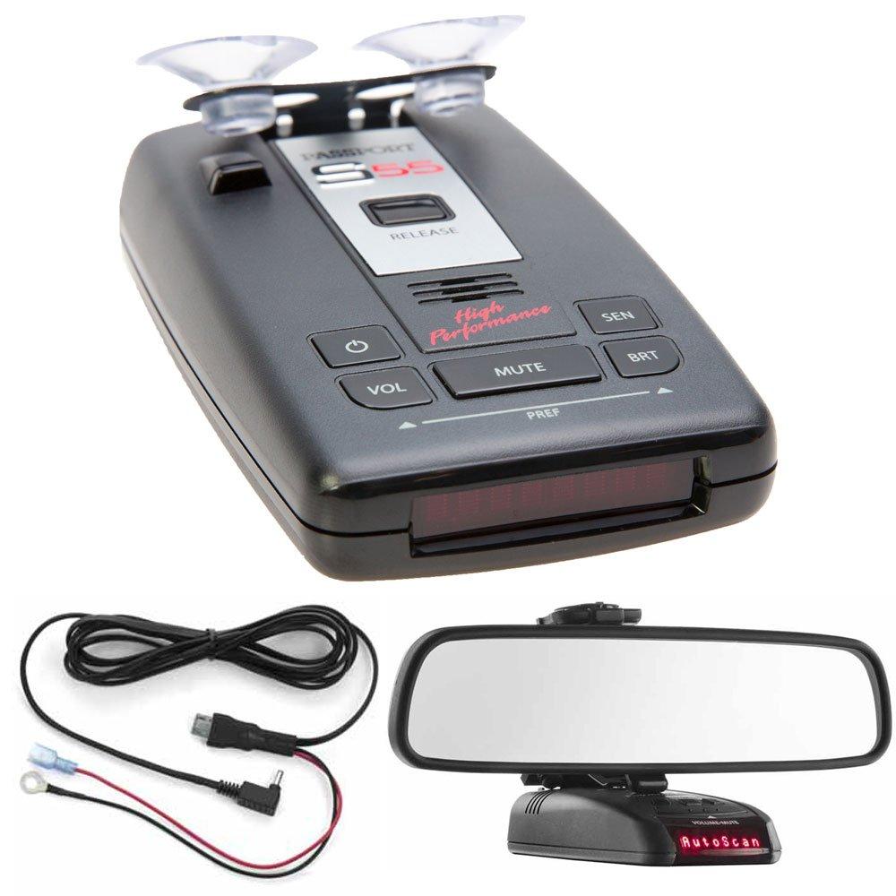 Escort PASSPORT S55 Radar/Laser Detector with Accessories Combo Bundle (Red) includes PASSPORT S55 Radar/Laser Detector, Car Mirror Mount Bracket and Direct Wire Power Cord