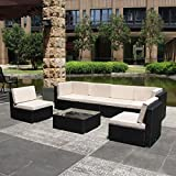 U-MAX 7 Piece 3-14 Pieces Patio PE Rattan Wicker Sofa Sectional Furniture Set (BK-7 Pieces)