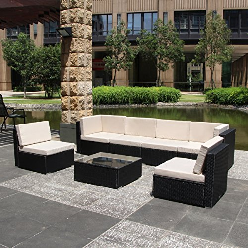 Cheap U-MAX 7 Piece 3-14 Pieces Patio PE Rattan Wicker Sofa Sectional Furniture Set (BK-7 Pieces)