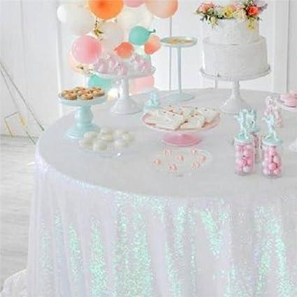 Amazon Soardream 50 Round Iridescent White Sequin Tablecloth