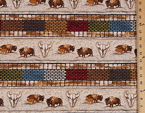 Cotton Buffalo Bison Cowboy Bricks Skulls Southwest Southwestern Stripes Cotton Fabric Print by the Yard - Print Southwestern Fabric