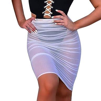 Beladla Falda Mujer Corta Verano Color SóLido Perspectiva Slim Protector Solar Malla Ropa Playa: Amazon.es: Ropa y accesorios