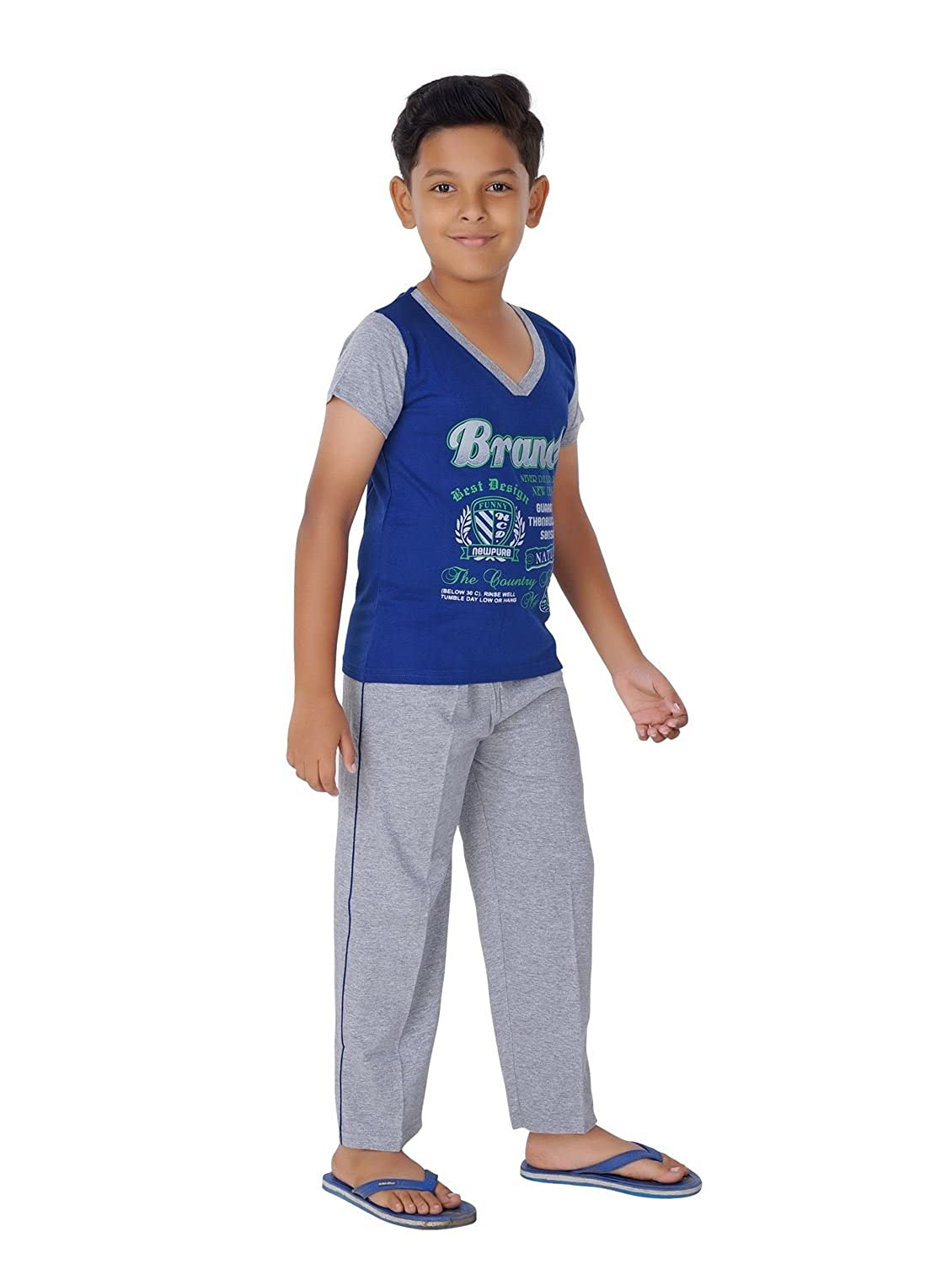 e8fe4054e25 Ginessa Summer Night Suit for Kids   Boys - Night wear - Track Suits - Pyjama  Tshirt Night Wear Combo Set -Cotton Material-Half Sleeve - Multi Color ...