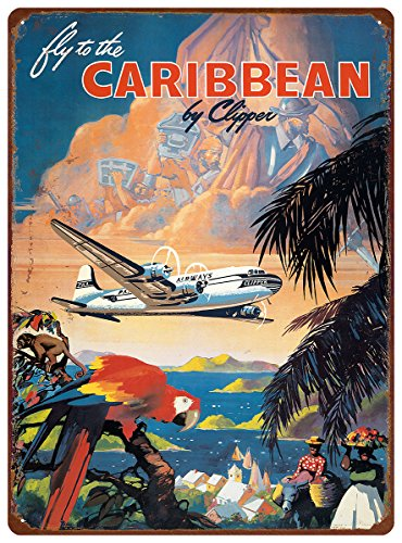 Hawaii Tin Sign (12in x 16in Vintage Hawaiian Tin Sign - Fly to the Caribbean by Mark Von Arenburg)
