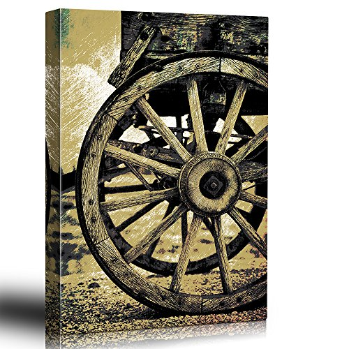Illustrated wagonwheel Scratchboard antique americana Wood grain Images from the Old West Sepia tone artwork