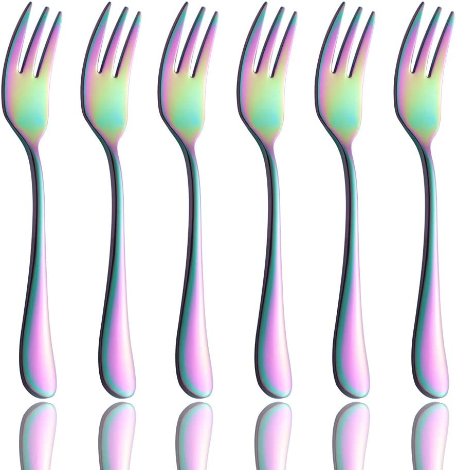 Onlycooker 6 Piece Black Cake Fork 5.8-inch Stainless Steel Oyster Cocktail Forks Set for 6 Silverware Sets Flatware Dinnerware Mirror Polished Dishwasher Safe black-18-Cake Fork-6pcs