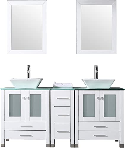 WONLINE 60″ White Double Wood Bathroom Vanity Cabinet and Round Ceramic Sink w/Mirror Combo Wash Basin