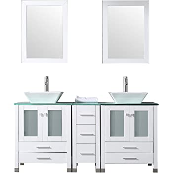 sliverylake 60 double sink bathroom vanity cabinet glass top w rh amazon com Rustic Country Style Bathroom Vanity Cabinets Farmhouse Bathroom Vanity Cabinets