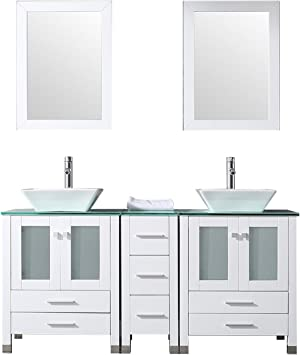 Amazon Com Sliverylake 60 Double Sink Bathroom Vanity Cabinet Glass Top W Mirror White Ceramic Vessel With Faucet Combo Kitchen Dining