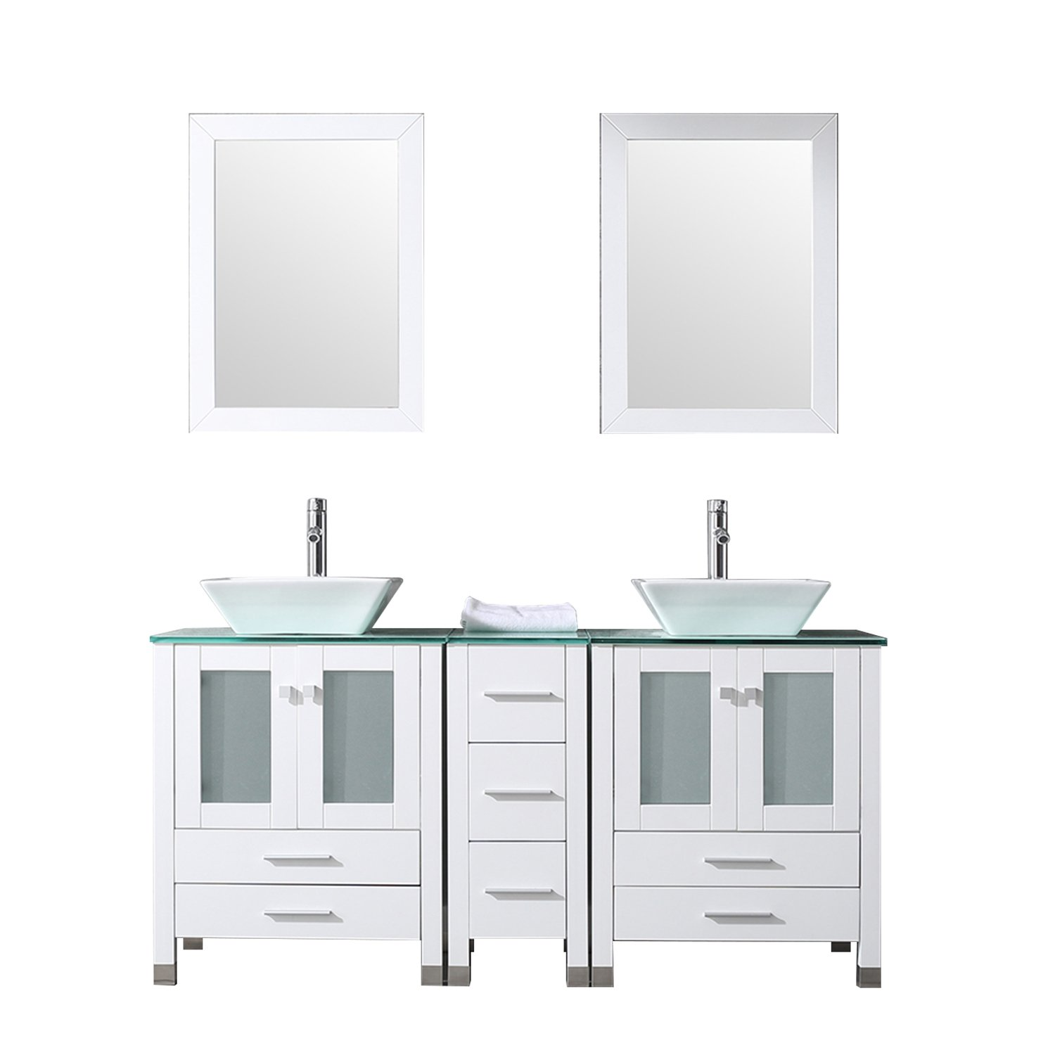 WONLINE 60 White Double Wood Bathroom Vanity Cabinet and Round Ceramic Sink w Mirror Combo Wash Basin with Faucet Square