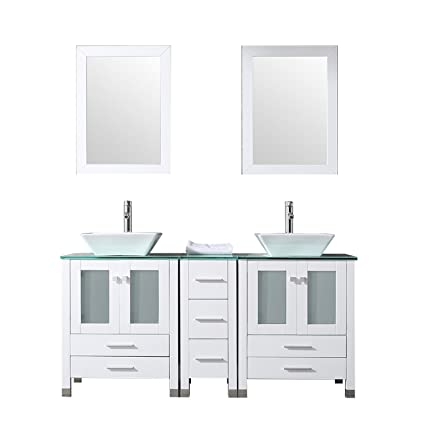 Double Bowl Sink Vanity.Sliverylake 60 Double Sink Bathroom Vanity Cabinet Glass Top W Mirror White Ceramic Vessel Sink With Faucet Combo