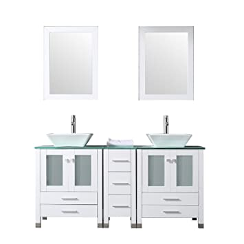Sliverylake 60 Double Sink Bathroom Vanity Cabinet Glass Top W