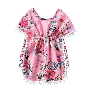 da399749d2 Amazon.com: Toddler Baby Girls Kids Cloak Floral Tassel Boho Print Beach  Cover Ups Short Sleeve Tops Kaftan Clothes: Clothing