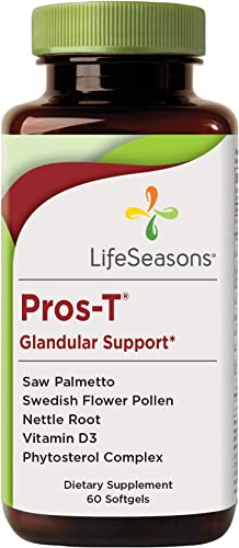 LifeSeasons – Pros-T – Prostate Support Supplement – Healthy Urinary Flow – Prostate Inflammation Support for Men – Clinical Strength Levels of Saw Palmetto, Nettle Root – 60 Capsules