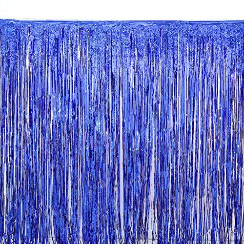 2 Pack Blue Foil Fringe Curtain Decoration -