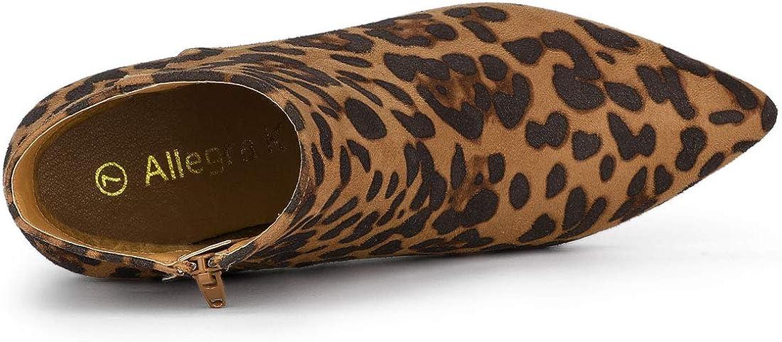 Allegra K Damen-Stiefeletten, spitz zulaufender Zehenbereich, mit Reißverschluss, Stiletto-Absatz Leopard
