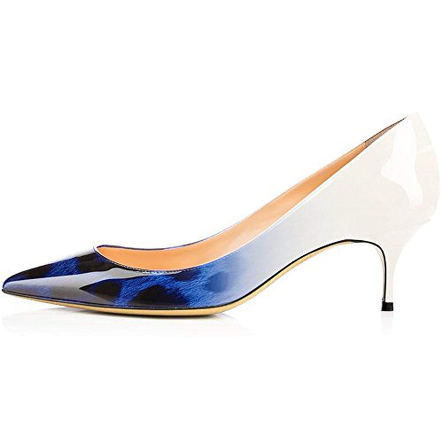 bluee Leopard Youthern Woman Heels Big Size Pumps shoes Sexy Pointed Toe High Heels Wedding Bridal shoes