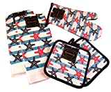 Summertime Nautical Kitchen Gift Set: 100% Cotton Dish Towels and Oven Mitts (Starfishes and Stripes)