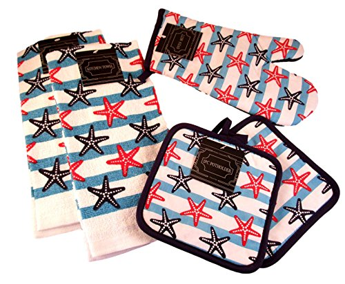 Summertime Nautical Kitchen Gift Set: 100% Cotton Dish Towels and Oven Mitts (Starfishes and Stripes) by Kitchen Towel