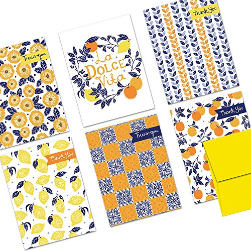 72 Note Cards - La Dolce Vita - Blank Cards - Yellow Envelopes Included (Italian Thank You Cards)