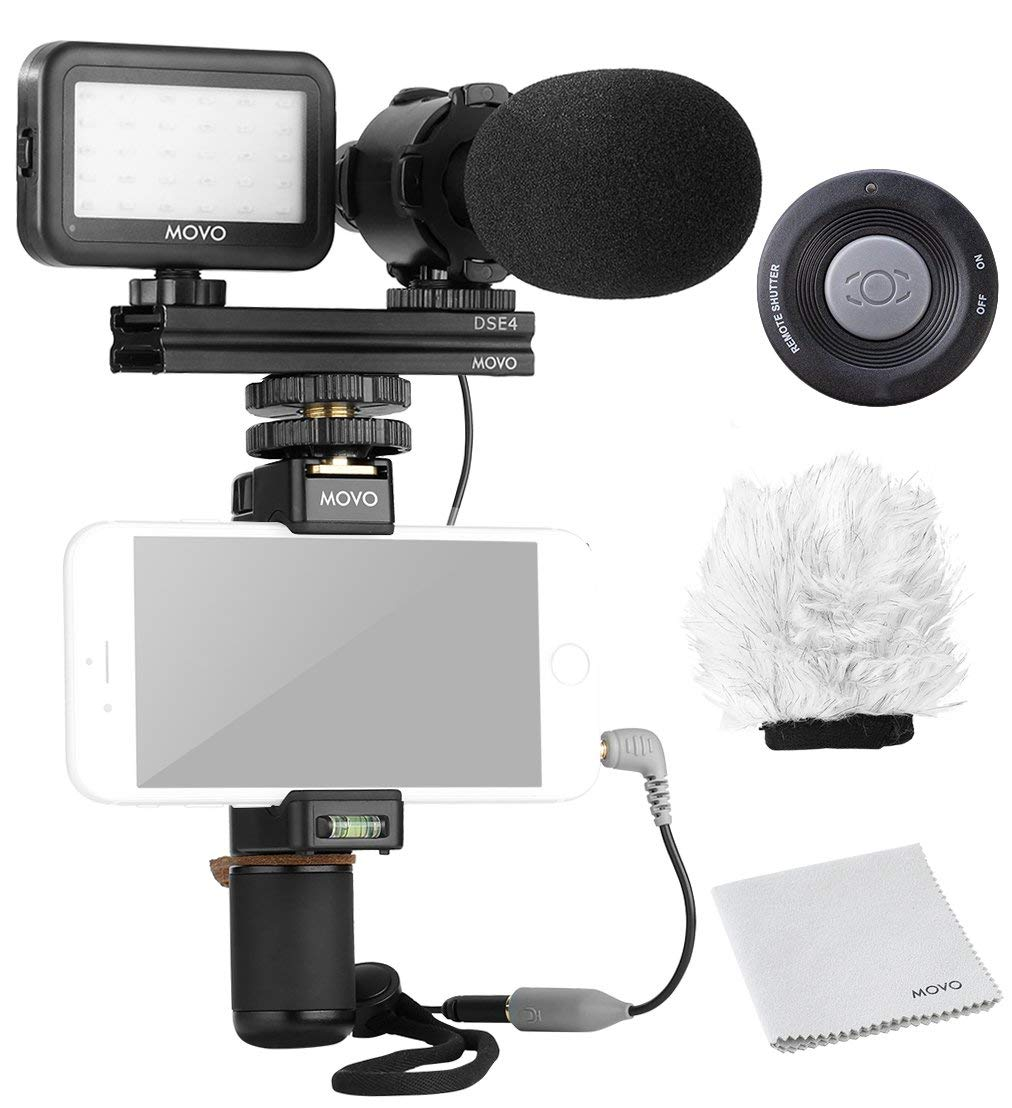 Movo Smartphone Video Rig Kit V7 with Grip Rig, Pro Stereo Microphone, LED Light and Wireless Remote - YouTube Equipment for iPhone 5, 5C, 5S, 6, 6S, 7, 8, X, XS, XS Max, 11, 11 Pro, Samsung Galaxy by Movo