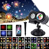 2019 New Year Outdoor Projector light , 16 Slides LUXONIC Waterproof Outdoor Water Wave & Rotating Gobos Double Projection Light Landscape Projector Light with Remote Control for Valentine, Easter, Birthday, Holiday,Party Decoration