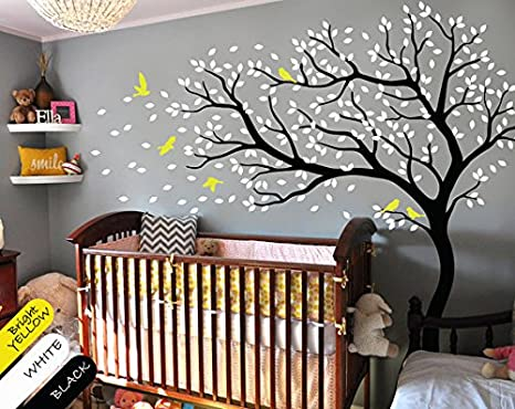 Ccbuyncu Cute Flying Birds Removable Vinyl Window Room Wall Stickers Large Tree Decal DIY Art Mural Home Decor Xmas Gift for Kids