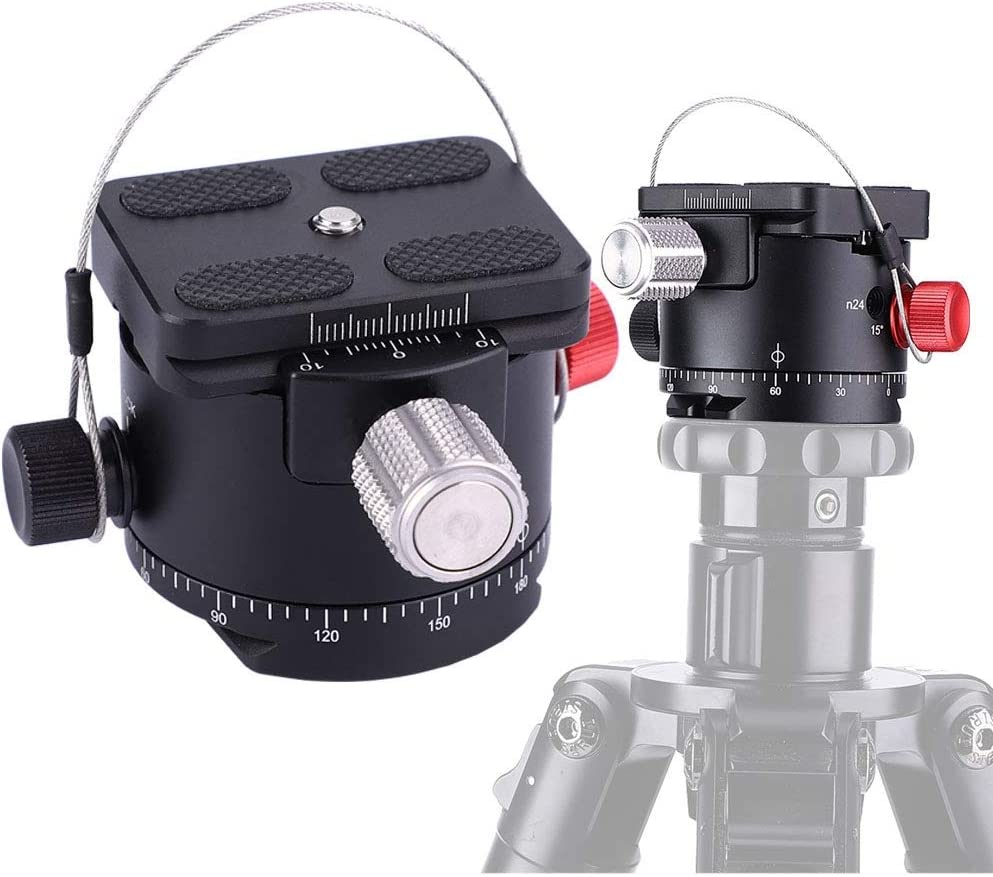 Xinwoer 360 Degree Panoramic 5 Stops Click Indexing Rotator Ball Head for Camera Tripod DH-50