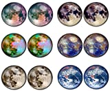 #4: LilMents 6 Pairs Solar System Galaxy Universe Unisex Mens Womens Stainless Steel Stud Earrings