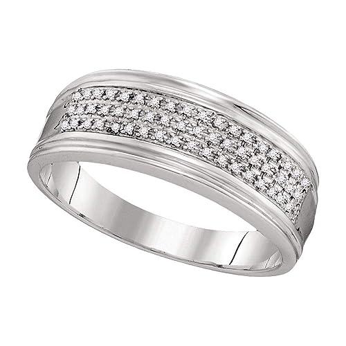 Anillo de oro blanco de 10 quilates para hombre, redondo, diamante, triple fila, anillo de aniversario de boda 1/10: Amazon.es: Joyería