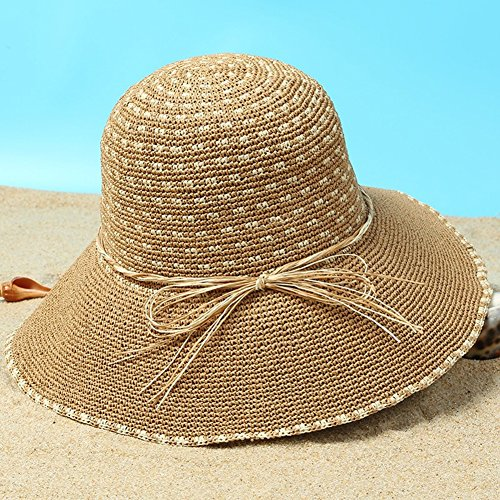 HAIPENG cap Sun Hats Women's Hand-woven Straw Hat Cap Chin Strap Sun Protection Travel Outdoor, 6 Colors Sun Hat (Color : 5#) (Cap Hand Straw Woven)