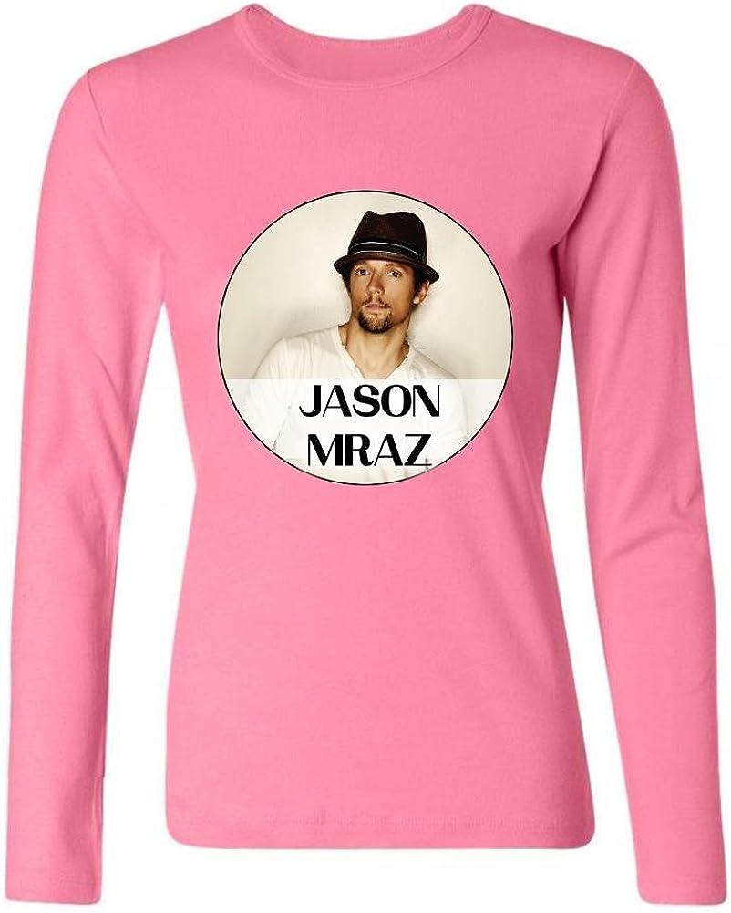 SLJD Jason Mraz Singer Camiseta de Manga Larga de algodón para Mujer