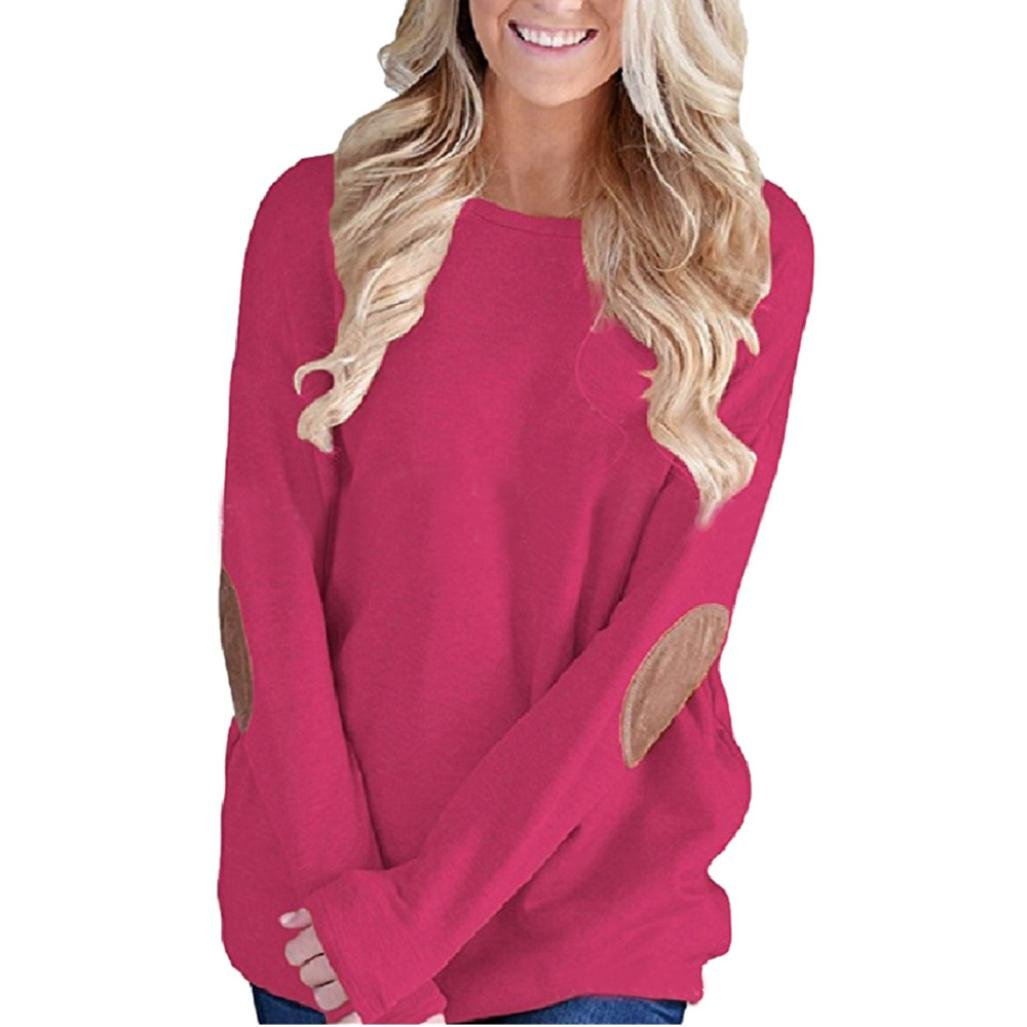 Ecurson Women Loose Long Sleeve Solid Patchwork Pullover Blouse Tops (XL, Hot Pink)