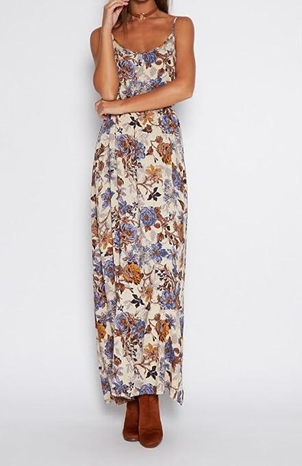Khaleesi Womens Vintage Tie-waist Boho Floral Print Maxi Beach Dress vestidos de festa at Amazon Womens Clothing store: