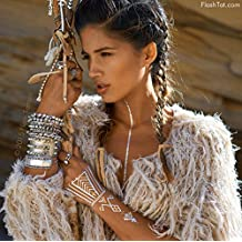 Flash Tattoos Desert Dweller X Child of Wild Authentic Metallic Temporary Tattoos 4 Sheet Pack (gold/silver/turquoise) - Includes Over 43 Premium Waterproof Tattoos