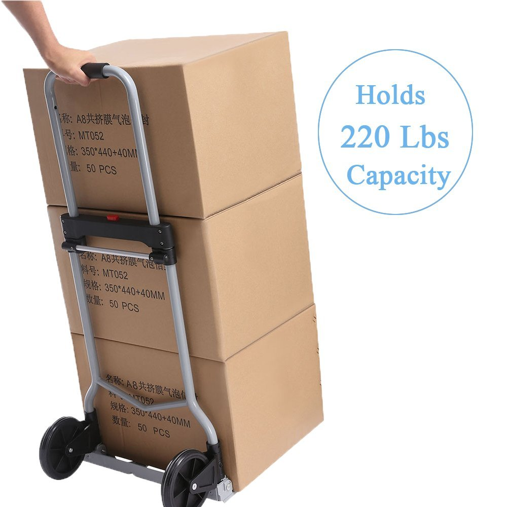 Heavy Duty Hand Truck & Dolly, 220 lb. Capacity Aluminum Portable Folding Luggage Utility Cart with2 Wheels for Shopping/Industrial/ Travel by Ferty (Image #3)