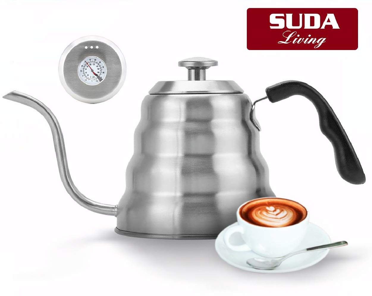 Pour over Coffee Kettle by Suda Living - with built-in Thermometer and Stainless Steel -Hario style Water Pot and Teapot -Works on all Stovetops -Rust Free and No Leak -Gooseneck Design -40oz/1.2L