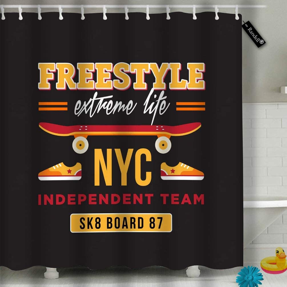 Decor Shower Curtain Set Skateboard Nyc Independent Team 72 72 Bathroom Accessories Amazon Ca Home Kitchen