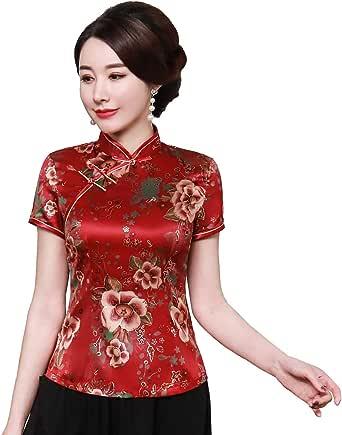 Shanghai Story Cheongsam Shirt Short Sleeve Qipao Top Faux Silk Chinese Blouse