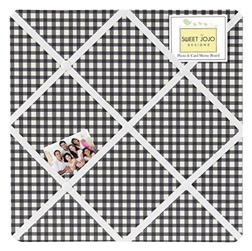 Sweet Jojo Designs Black and White Gingham Fabric Memory/Memo Photo Bulletin Board for Ladybug Collection by Sweet Jojo Designs